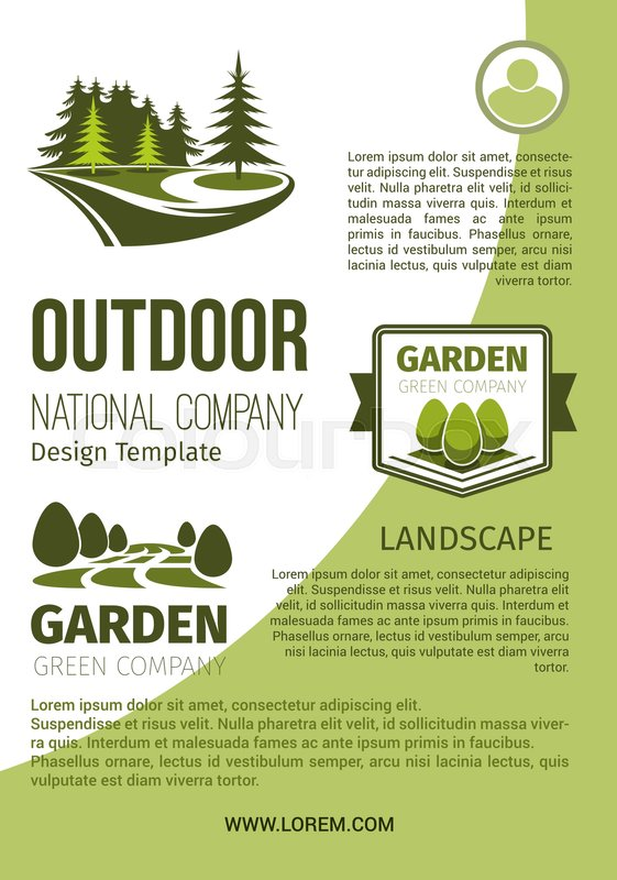 Outdoor green landscape and garden designing company and - garden design template