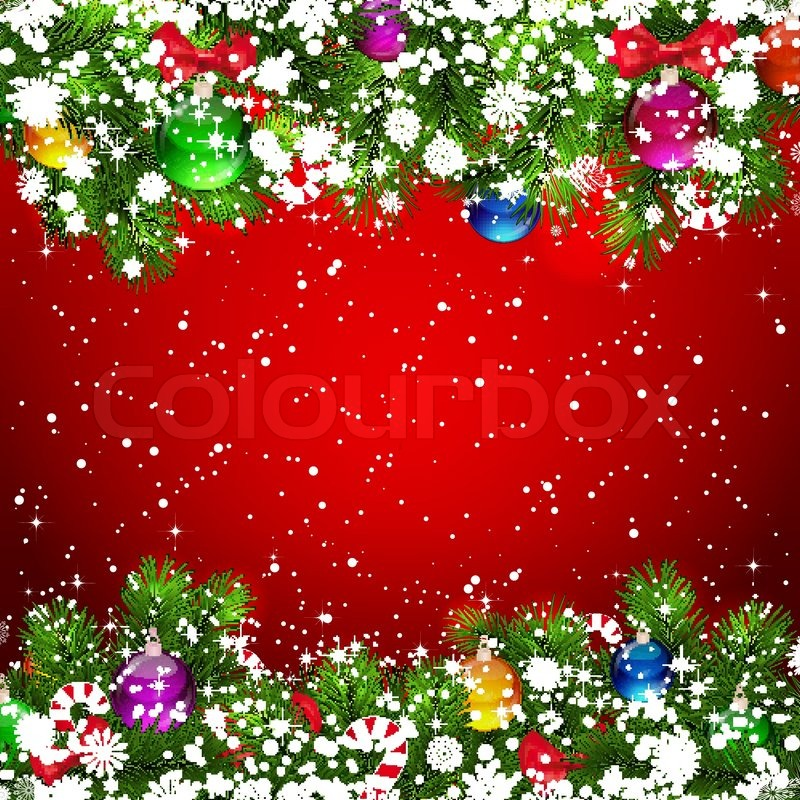 Christmas background with snow-covered Stock Vector Colourbox