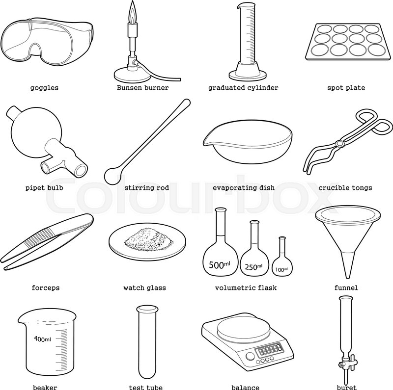 Chemical laboratory tools icons set Outline illustration of 16