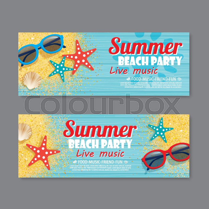 Summer beach party invitation ticket template background Stock - party ticket template