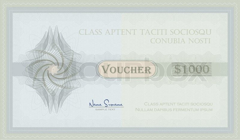 Voucher Guilloche coupon certificate template security blue green - coupon voucher template