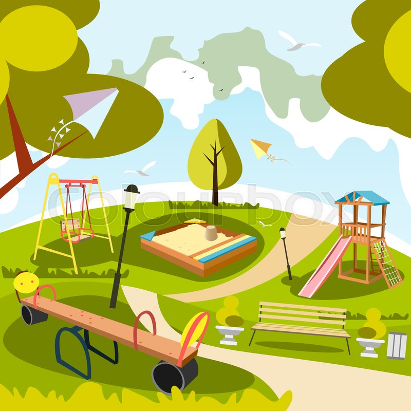 Girl Boy Cute Wallpaper Park And Playground Cartoon Vector Art And Illustration