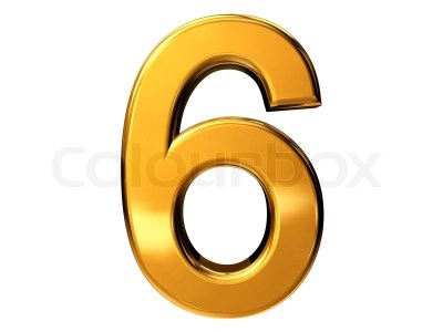 Gold number six isolated on white background | Stock Photo | Colourbox