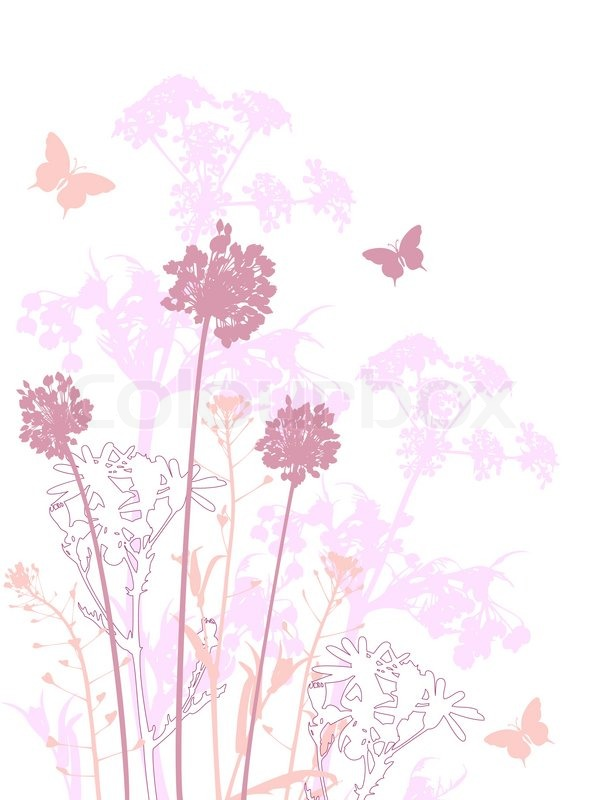 Schmetterlinge Bilder Kostenlos Floral Background Mit Rosa Blumen | Stock-vektor | Colourbox