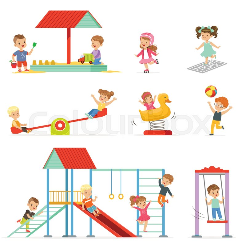 Cute cartoon little kids playing and having fun at the playground - cartoon children play