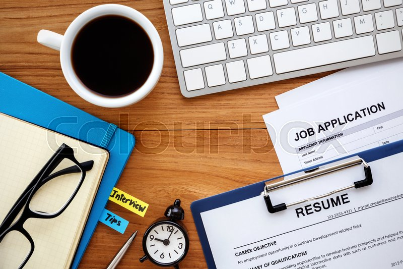 Job search with resume and job Stock Photo Colourbox