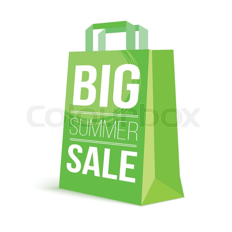 Color paper shopping bag with ad text Stock Vector Colourbox