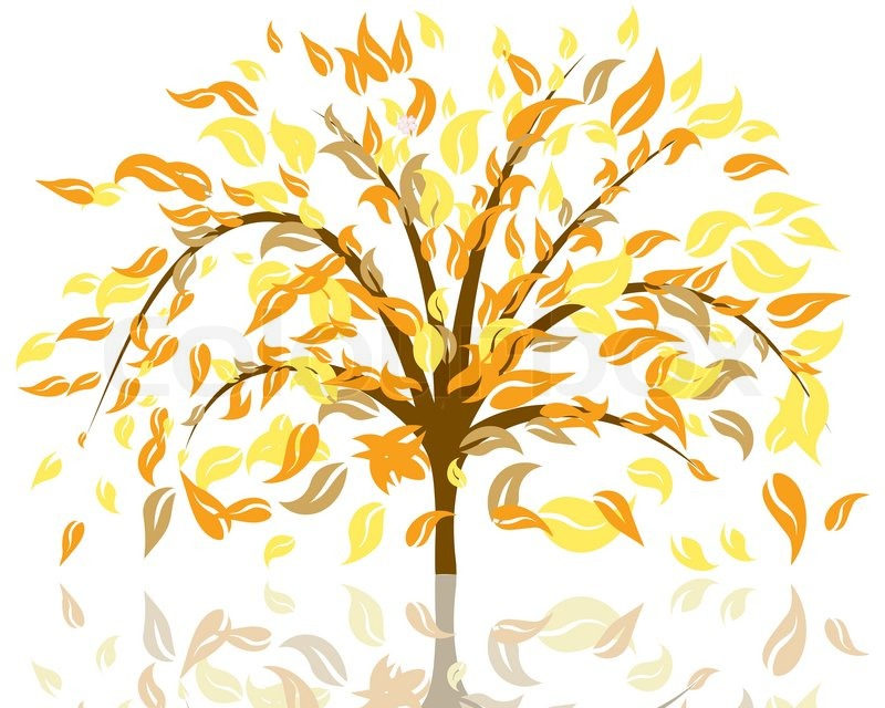 Fall Outdoor Decorations Wallpaper Vector Illustration Of Autumn Tree With Falling Leaves