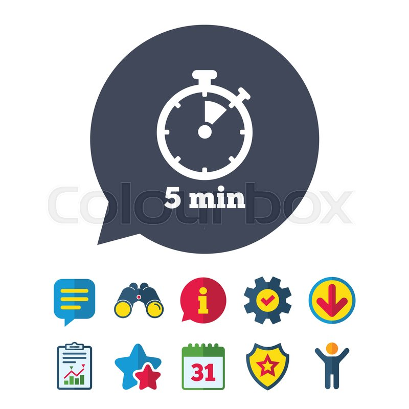 Timer sign icon 5 minutes stopwatch symbol Information, Report and