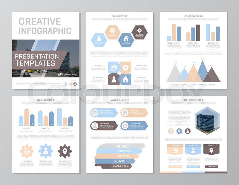 Set of colored elements for multipurpose a4 presentation template