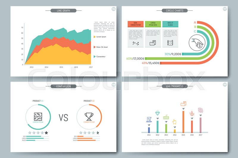 Minimal infographic brochure template Pages with comparison diagram