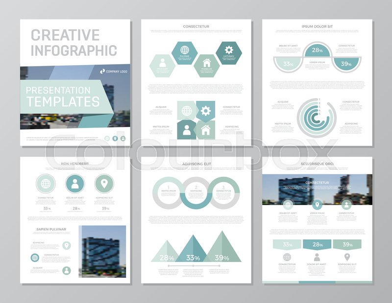 Set of turquoise elements for multipurpose a4 presentation template