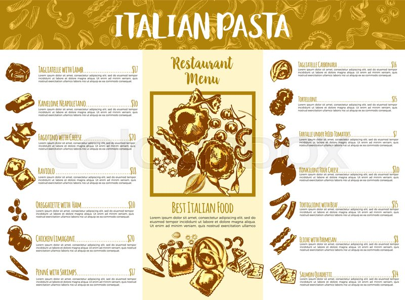 Italian pasta menu template Italian cuisine restaurant traditional