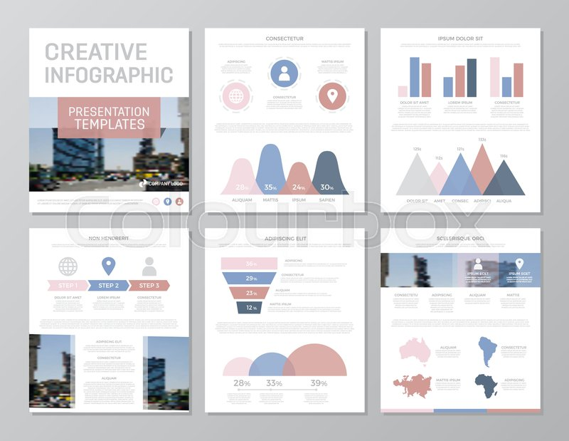 Set of red, blue and pink elements for multipurpose a4 presentation