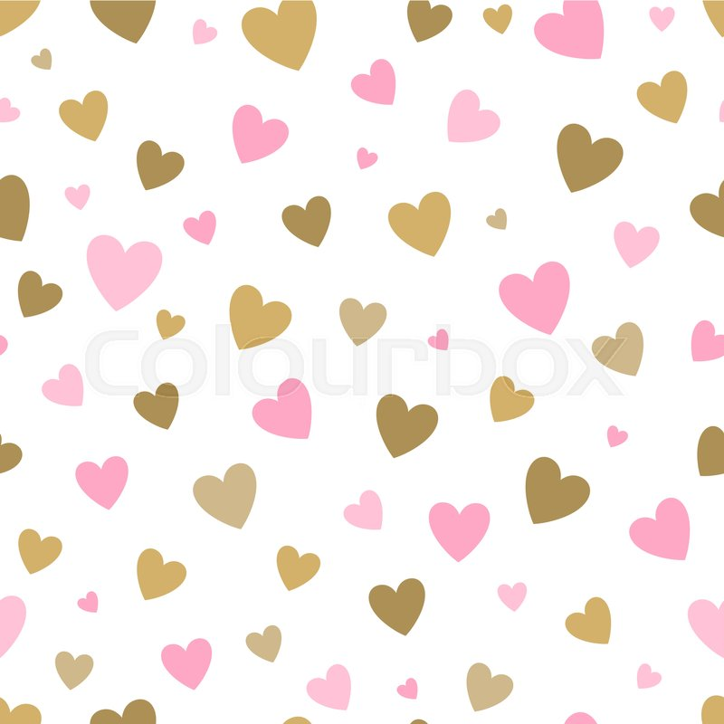 Cute Baby Girl New Wallpaper Seamless Pattern White Background With Pink And Gold