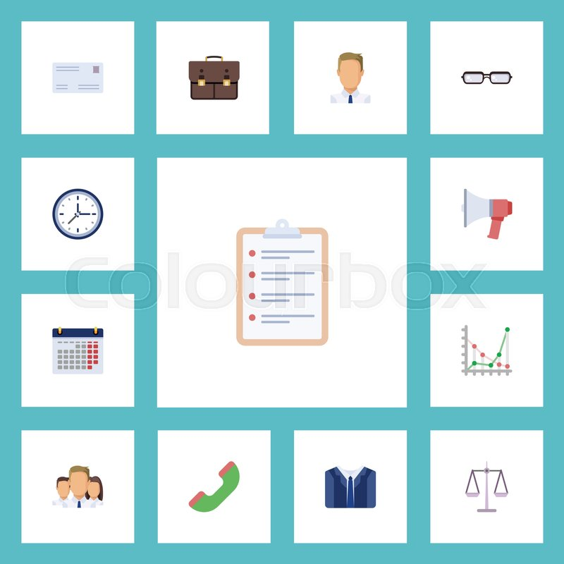 Flat Icons Costume, Employee, Task List And Other Vector Elements - employee task list
