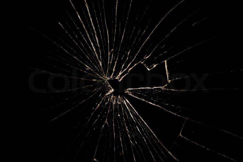 Broken Glass Isolated On Black Background Stock Photo