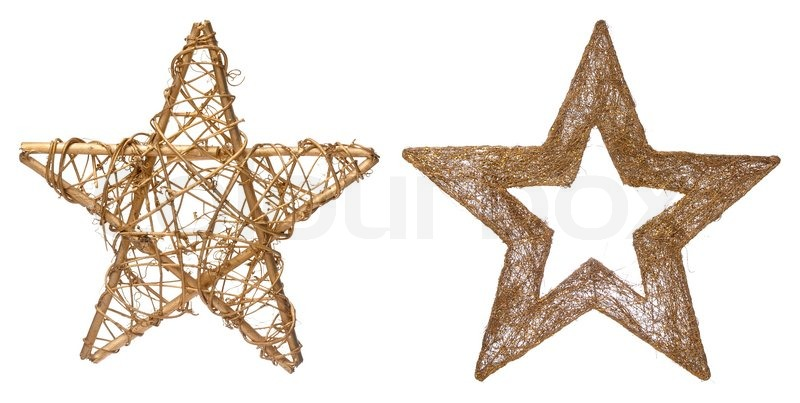 Christmas stars decorations isolated on white background Stock - christmas star decorations