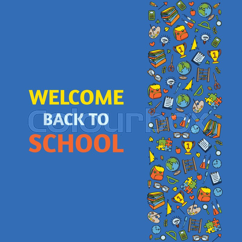 Doodle Welcome Back to School poster Hand drawn stationary graphic - welcome back template