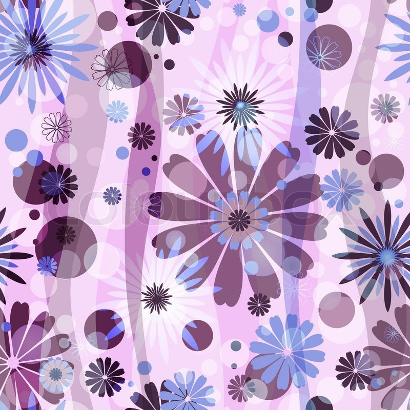 Pink seamless floral pattern with blue-purple flowers and circles