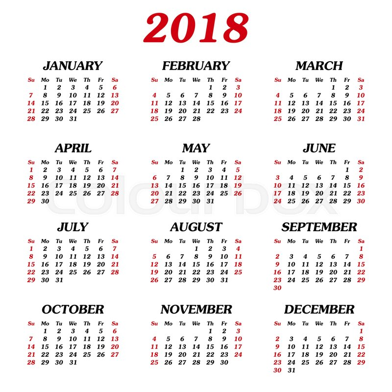 Annual calendar of 12 months 2018 First day of week Sunday Stock - monday sunday calendar