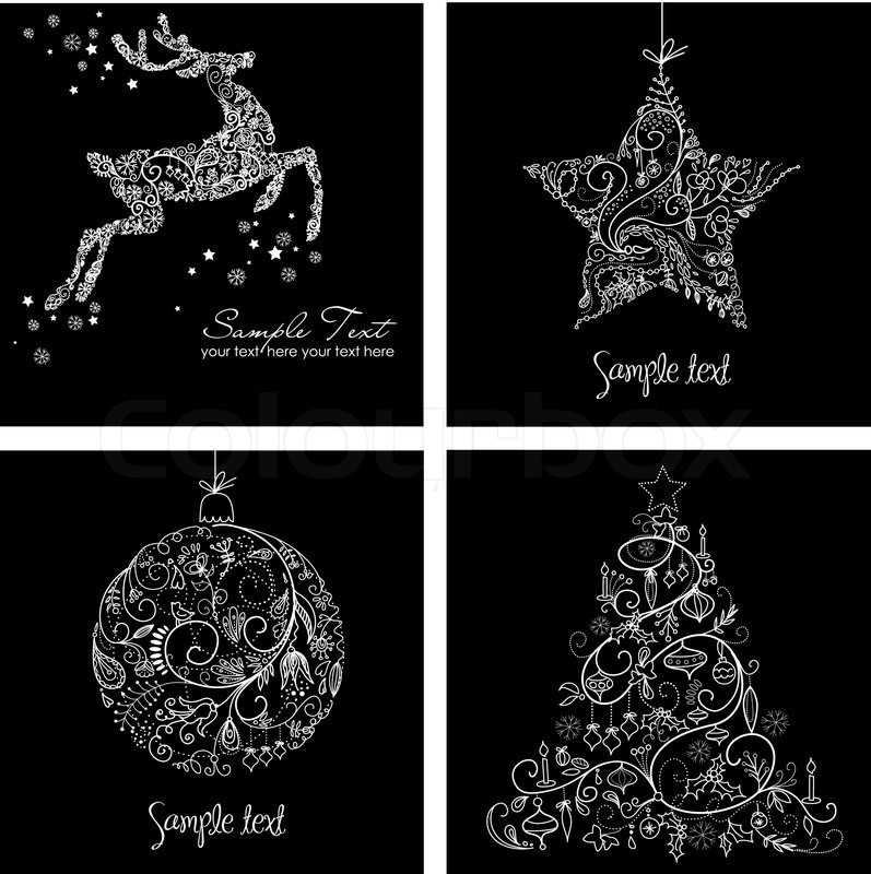 Black and White Christmas Cards Stock Vector Colourbox - christmas cards black and white