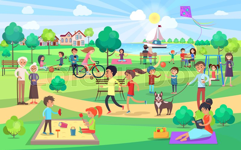 Park Activities Vector Illustration Kids Play Together On
