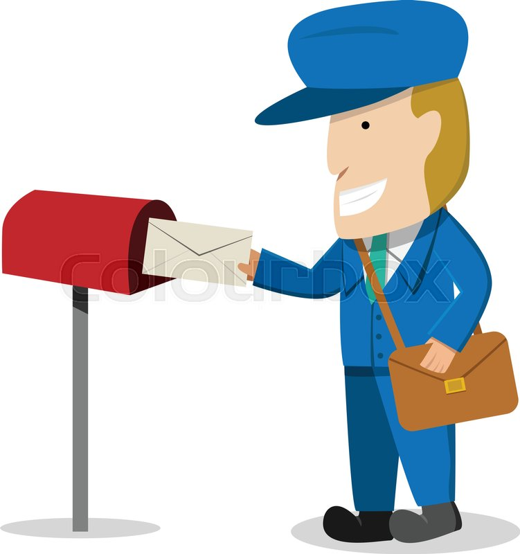Postman send a letter to mailbox, Stock Vector Colourbox