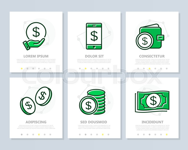 Set of bank and money colored elements Stock Vector Colourbox