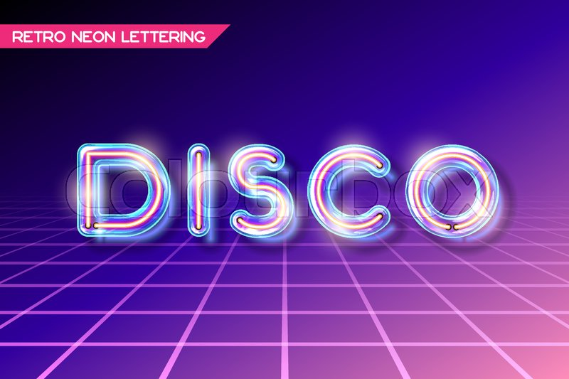Retro neon glowing glass DISCO lettering with transparency and