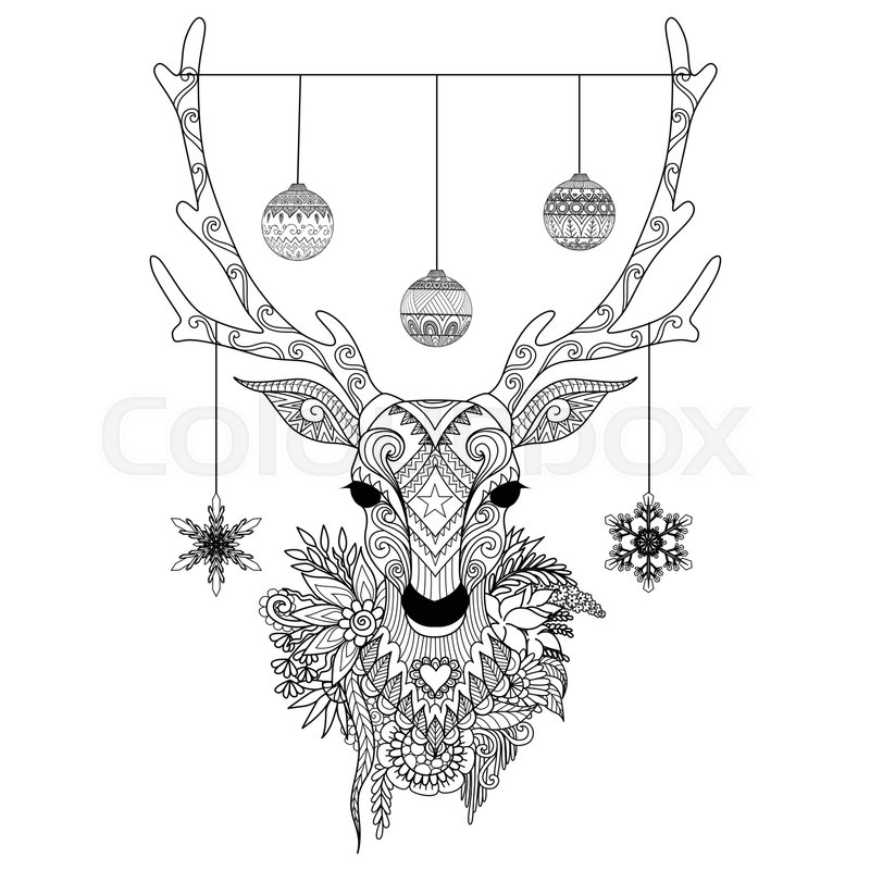 Muster Bilder Zum Ausmalen Line Art Design Of Christmas Deer Head With Decortative
