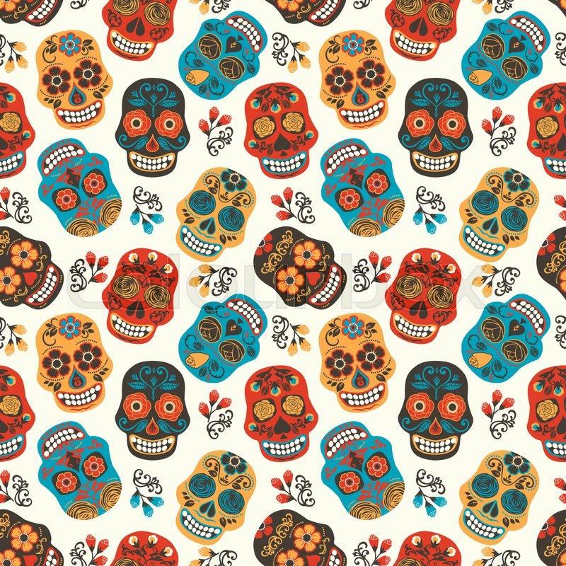 Dia de los muertos Day of The Dead Seamless pattern Vector
