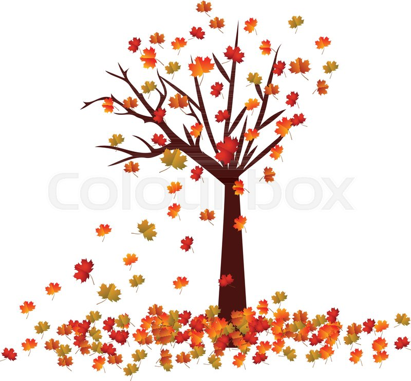 Fall Leaves Falling Wallpaper Autumn Tree Fall Leaves Background Stock Vector Colourbox