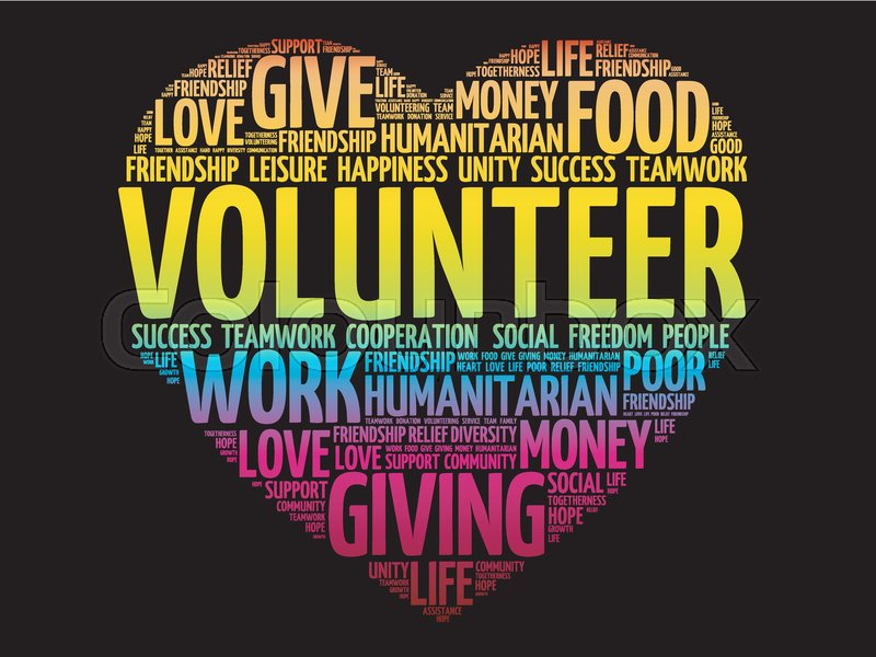 Volunteer word cloud collage, social Stock Vector Colourbox
