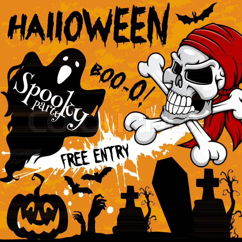 Halloween holiday party invitation poster or greeting card and flyer