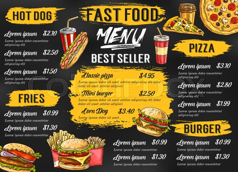 Fast food menu template for fastfood restaurant or cafe Vector - food menu template