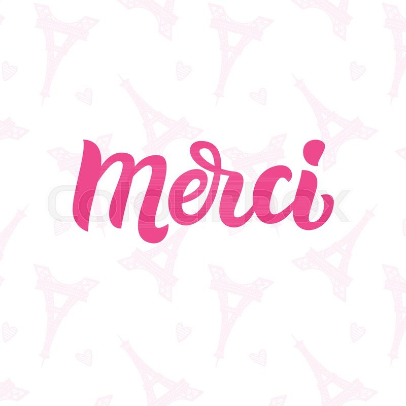 Cute gift card with Thank you lettering in french with hand drawn