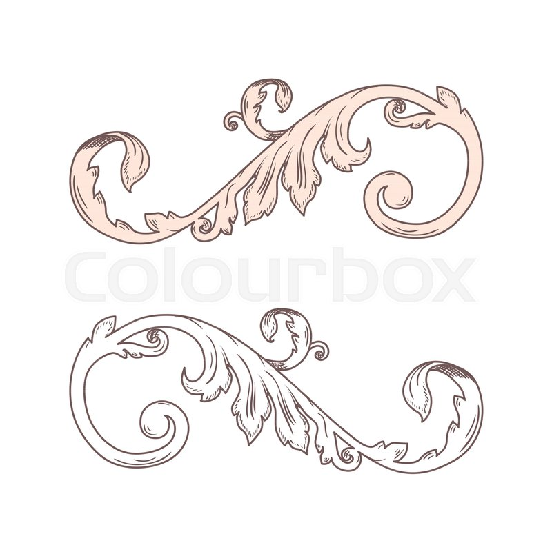 Vintage Baroque Victorian frame border monogram floral ornament leaf - baroque scroll designs