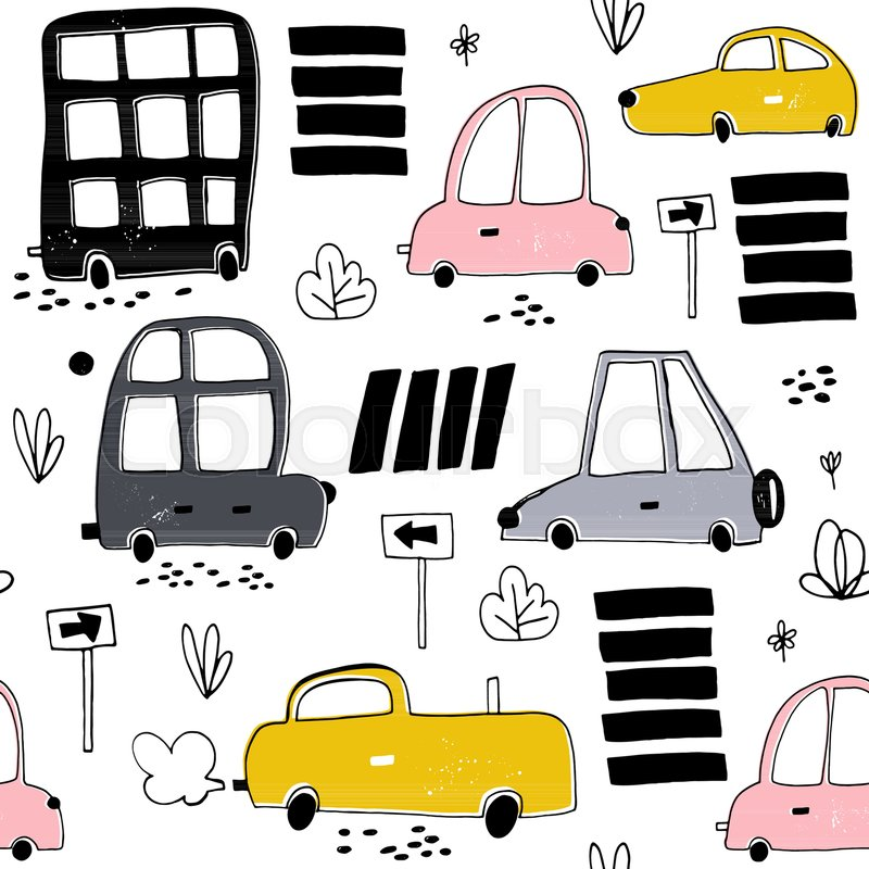Seamless pattern with hand drawn cute Stock Vector Colourbox