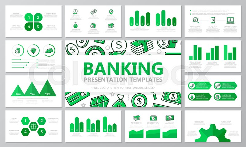 Set of bank and money elements for Stock Vector Colourbox