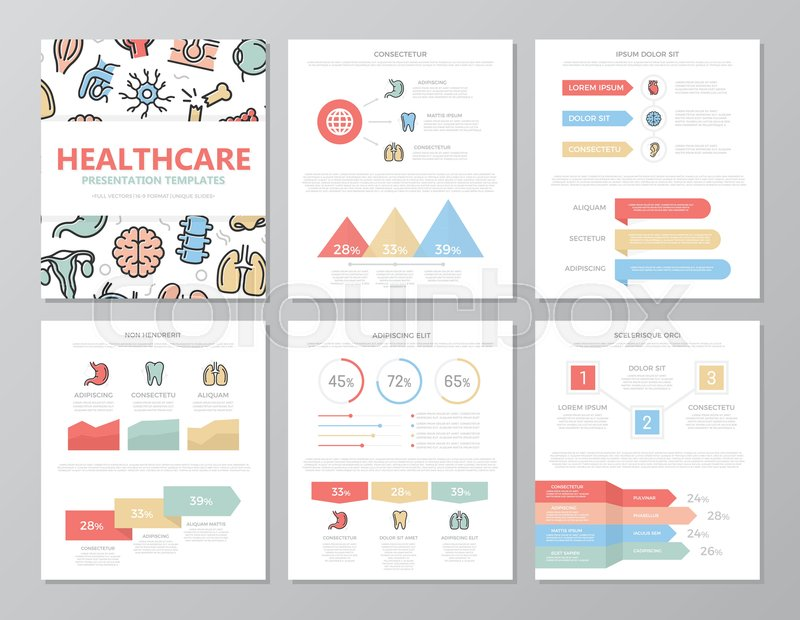 Set of colored medical and healthcare elements for multipurpose a4