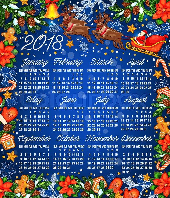 Christmas holiday calendar template 2018 year calendar with frame - holiday calendar template