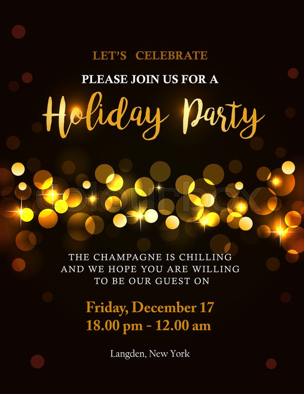 Holiday party invitation with back golden lights and text Bokeh