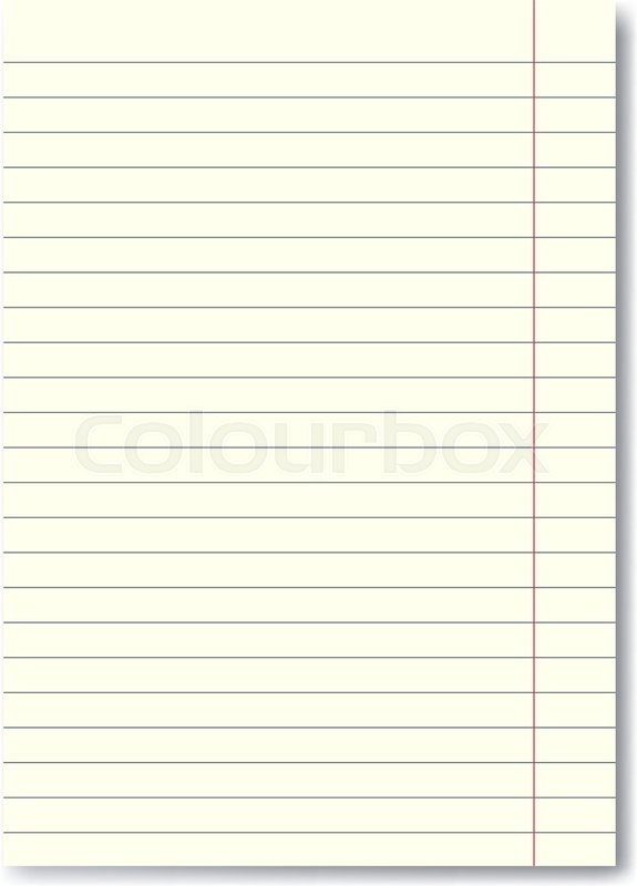 Vector realistic lined paper sheet with margins Copybook, notebook - blank lined page