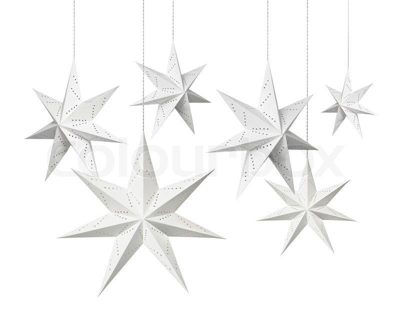 White Christmas decoration paper stars hanging isolated on white - christmas star decorations