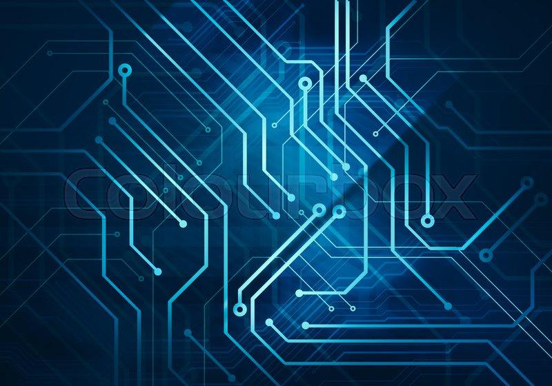 Digital conceptual image circuit microchip on dark blue background