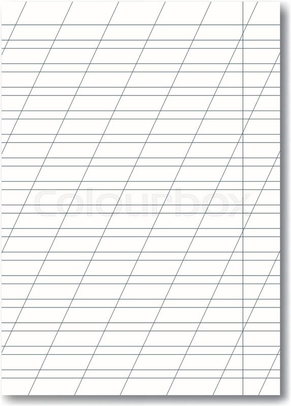 Vector opened realistic school cursive writing worksheet with red