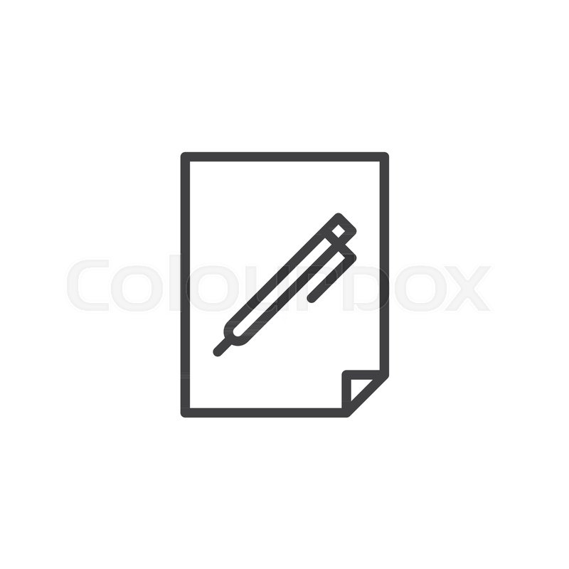 Pen on paper document line icon, outline vector sign, linear style - blank sheet of paper with lines