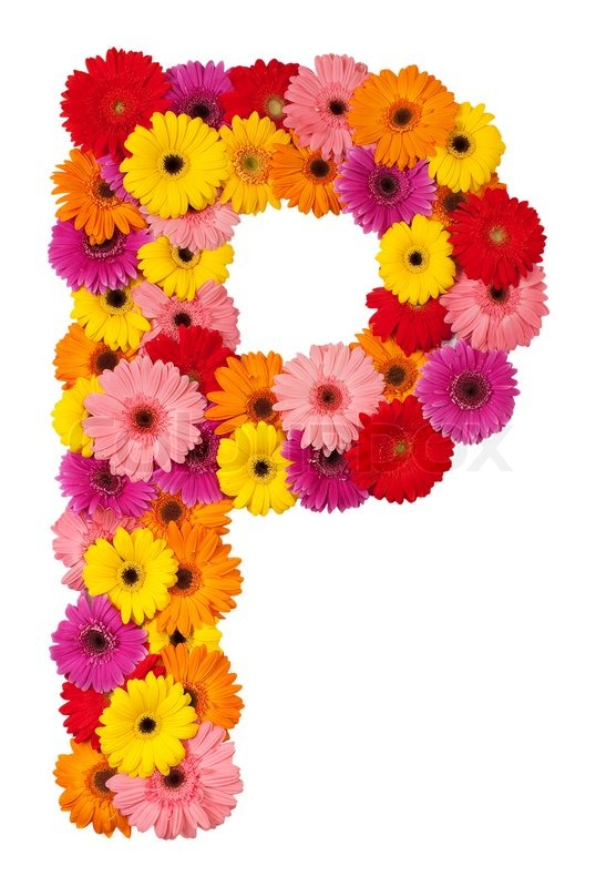 Letter P - flower alphabet isolated on white background Stock