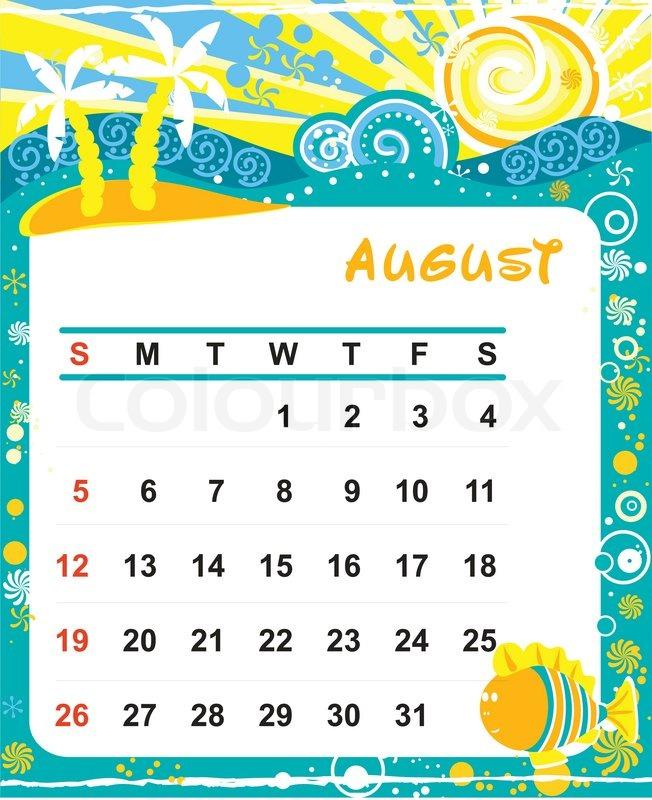 Decorative Frame for calendar - August Stock Vector Colourbox